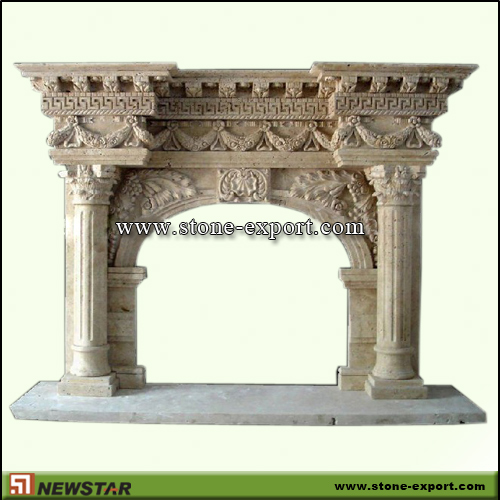 Fireplace Mantels,Marble Fireplace,Cream Marble