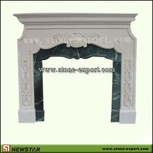 Fireplace Mantels,Marble Fireplace,Beige Marble