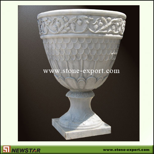 Landscaping Stone,Flowerpot and Vase,White Marble