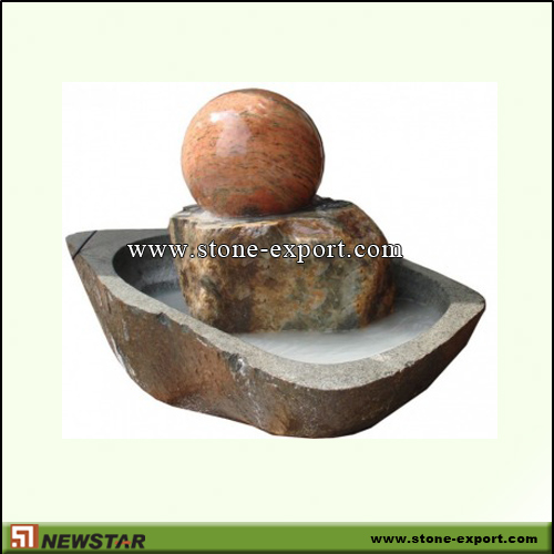 Landscaping Stone,Ball and Floating Sphere,Multicolor Red,G612