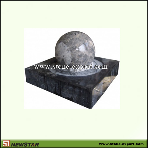 Landscaping Stone,Ball and Floating Sphere,Absoutely Black,Bahamas Blue