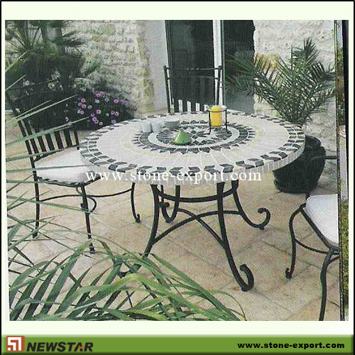 Slate Mosaic Coffee Table Stone Garden Table And Chair