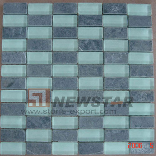 Mosaic Tile,Marble with Glass Mosaic,Marble & Glass