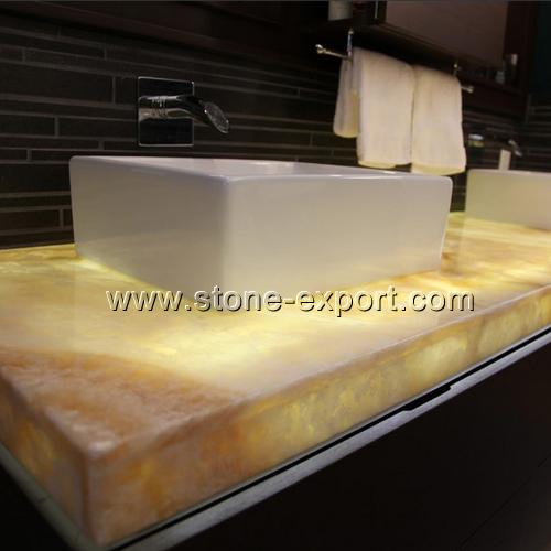Onyx Slab Countertops : White onyx vanity tops with glass