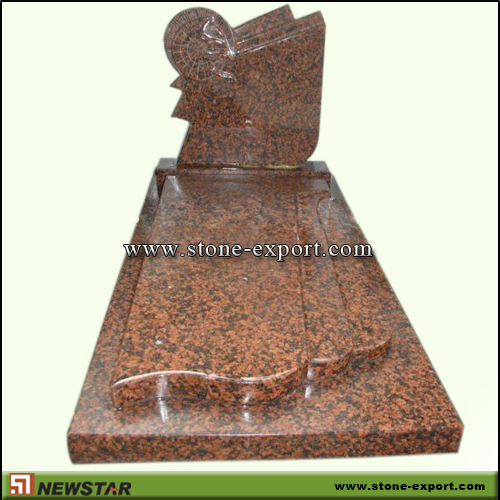 Tombstone,Europe Style,Red Granite