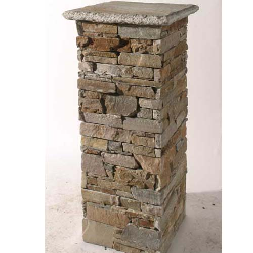 Cultured Stone Pillars : Slate pillar column culture stone wall